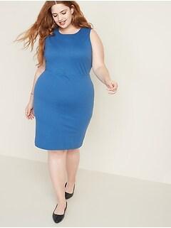 Secret-Slim Plus-Size Sleeveless Ponte-Knit Sheath Dress