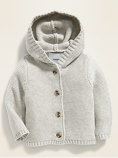 Unisex Button-Front Hooded Sweater for Baby