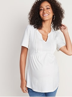 Maternity Pintucked Crochet-Lace Trim Top