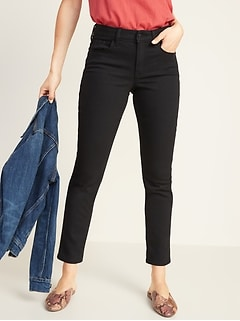 Mid-Rise Power Slim Straight Black Jeans for Women