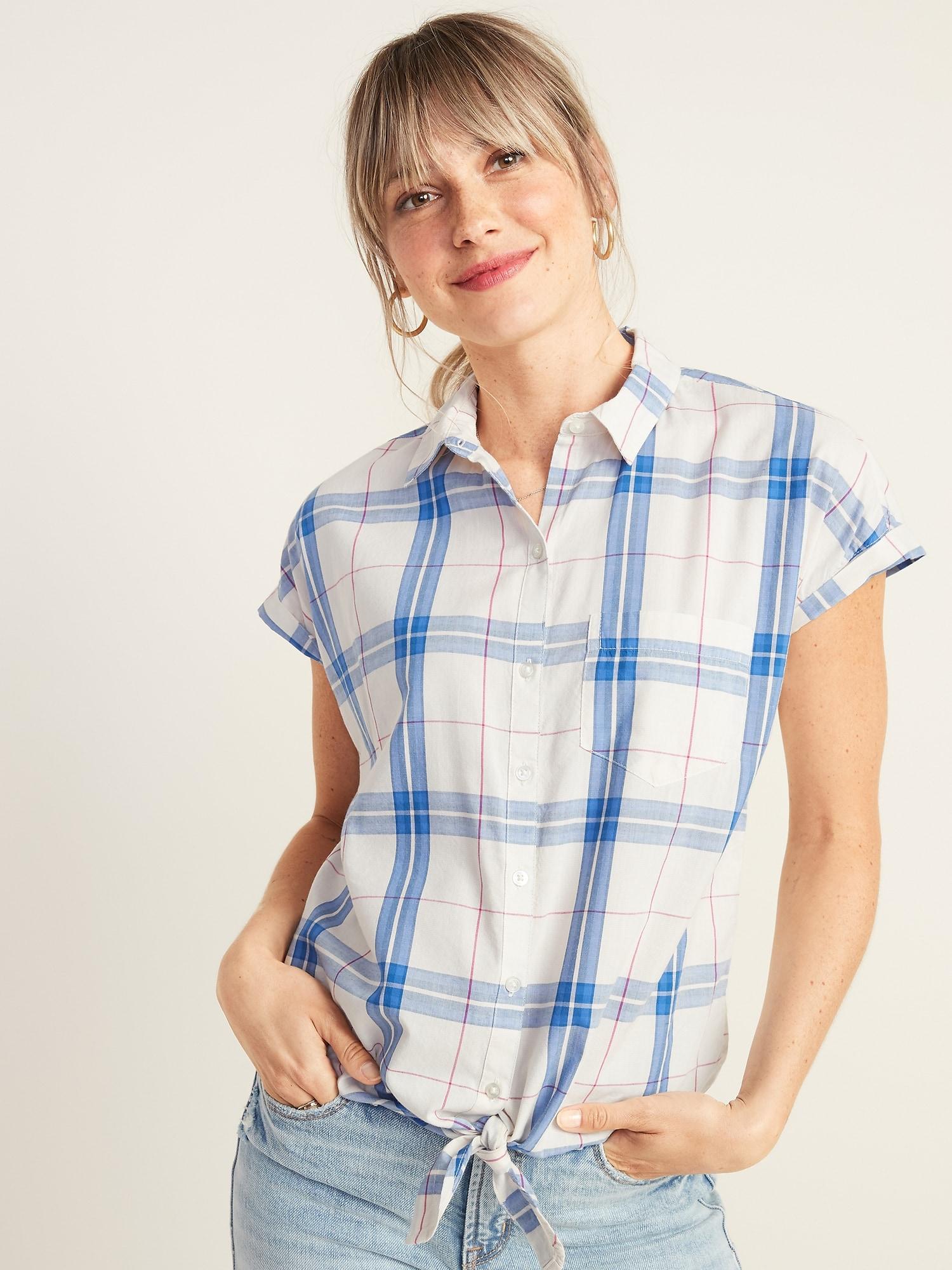 451dac949 Patterned Tie-Hem Shirt for Women   Old Navy