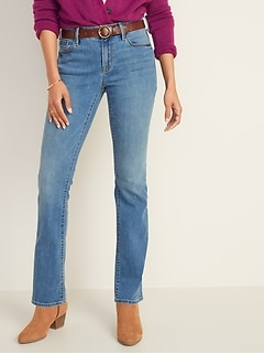 Mid-Rise Medium-Wash Kicker Boot-Cut Jeans for Women