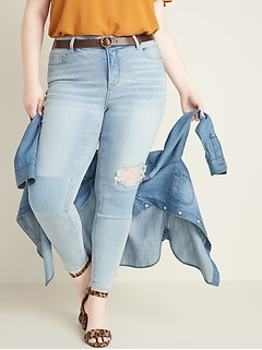 High-Waisted Secret-Slim Pockets Plus-Size Distressed Rockstar Ankle Jeans