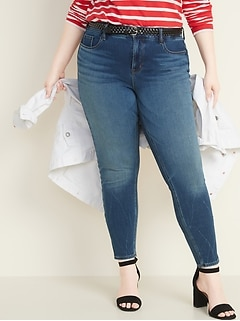 High-Waisted Secret-Slim Pockets + Waistband Rockstar 24/7 Sculpt Plus-Size Super Skinny Jeans