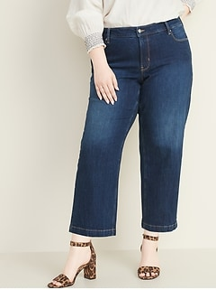 High-Waisted Secret-Slim Pockets Wide-Leg Plus-Size Jeans