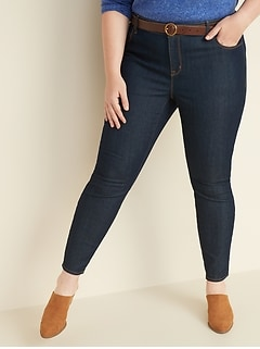 Mid-Rise Dark-Wash Plus-Size Super Skinny Ankle Jeans