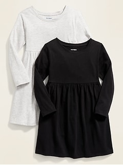 Robe ajustée et évasée pour toute-petite fille (paquet de2)