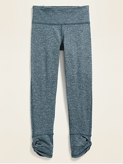 Mid-Rise Soft-Brushed Go-Dry Side-Twist 7/8-Length Leggings for Girls