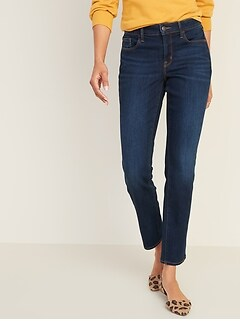 Mid-Rise Dark-Wash Power Slim Straight Jeans for Women