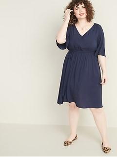 Waist-Defined Elbow-Sleeve Plus-Size Dress