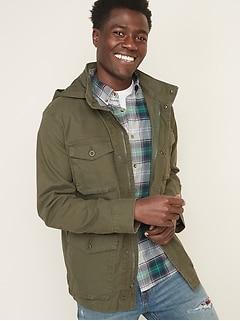 Built-In Flex Stowaway-Hood Military Jacket for Men