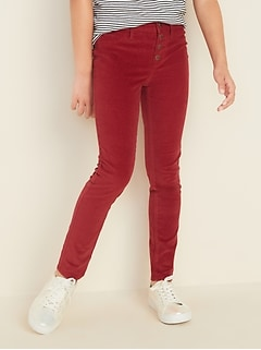 High-Rise Button-Fly Rockstar Corduroy Jeggings for Girls
