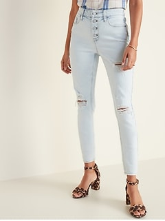 High-Waisted Secret-Slim Pockets Button-Fly Distressed Rockstar Super Skinny Jeans for Women