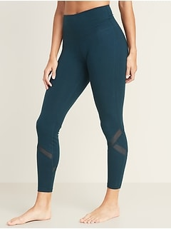 High-Waisted Mesh-Panel Balance 7/8-Length Leggings For Women
