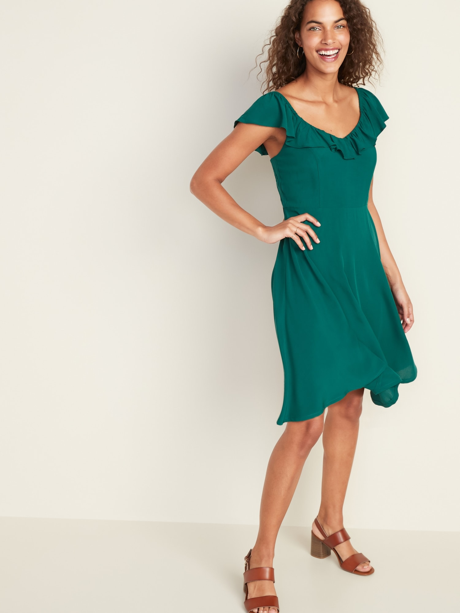 a59b8c50a Ruffled Flutter-Sleeve Fit & Flare Dress for Women | Old Navy