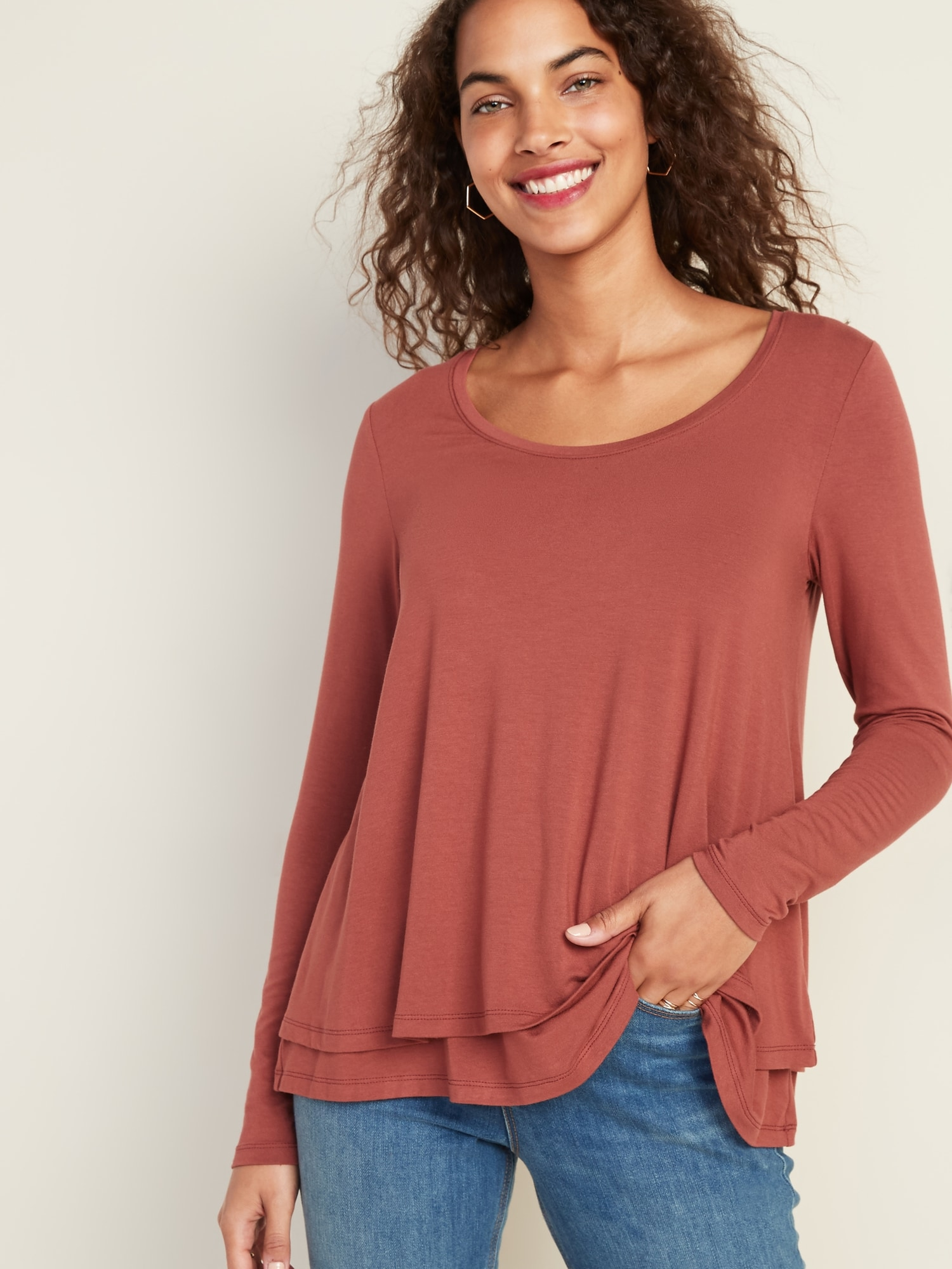 NEW GAP MATERNITY Brown Double Layer Knit Nursing Top Shirt XXS