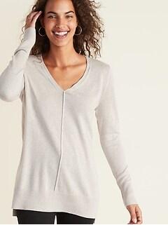 V- Neck Tunic Sweater for Women