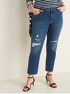 Mid-Rise Power Slim Straight Plus-Size Distressed Jeans