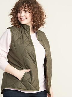 Lightweight Diamond-Quilted Plus-Size Zip Vest