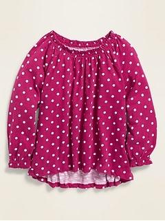 Smocked-Neck Slub-Knit Top for Girls
