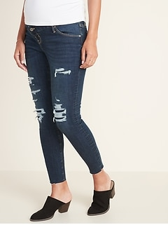 Maternity Premium Full Panel Distressed Raw-Edge Rockstar Jeans