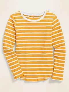 Fitted Striped Rib-Knit Tee for Girls
