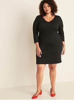Plus-Size Secret-Slim V-Neck Sheath Dress