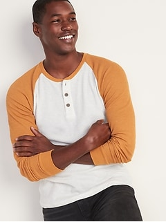 Color-Blocked Thermal Henley for Men