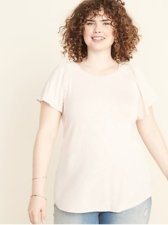 Relaxed Plus-Size Smocked-Sleeve Top