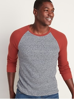 Soft-Washed Thermal-Knit Baseball Tee for Men