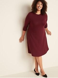 Plus-Size Plush-Knit Swing Dress