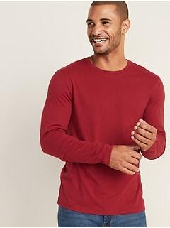 T-shirt à manches longues ras du cou au fini soyeux pour homme