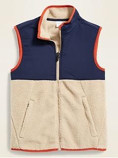 Color-Blocked Nylon/Sherpa Vest for Boys