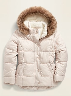 Frost-Free Water-Resistant Sherpa-Lined Puffer Jacket for Girls