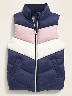 Frost-Free Color-Blocked Quilted Puffer Vest for Girls