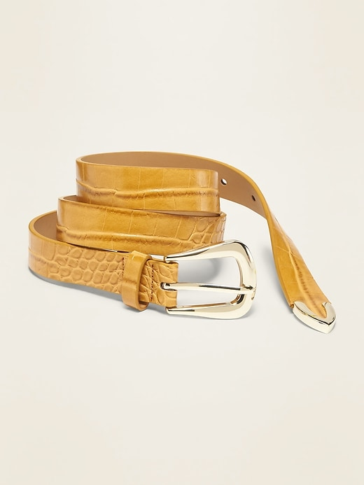 Faux-Leather D-Ring Belt for Women