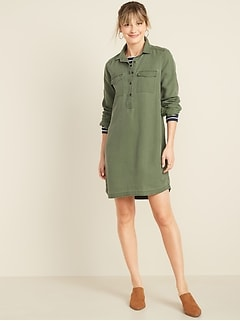 Faded Twill Shirt Dress for Women