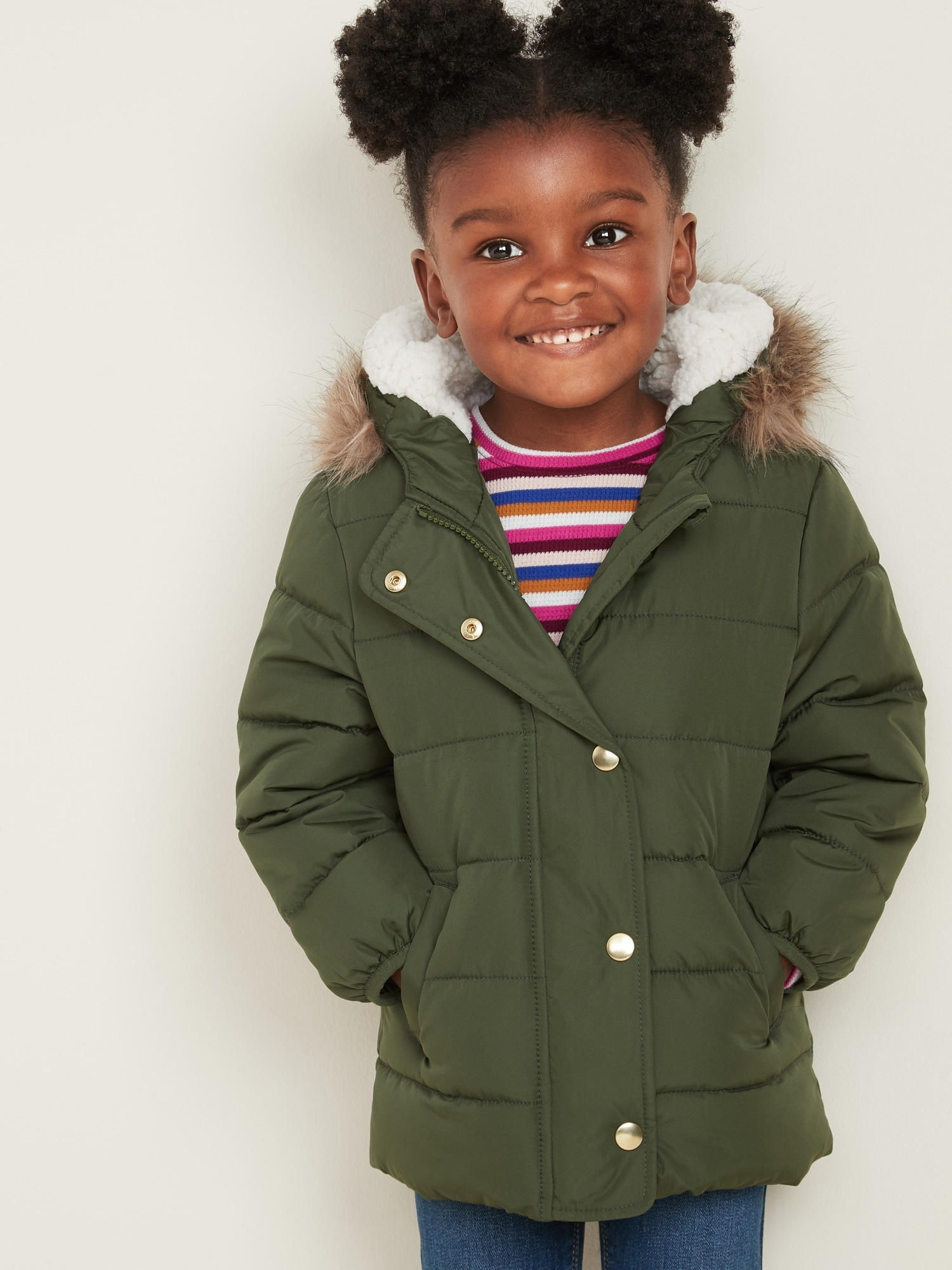 Frost Free Long Puffer Jacket For Toddler Girls by Old Navy