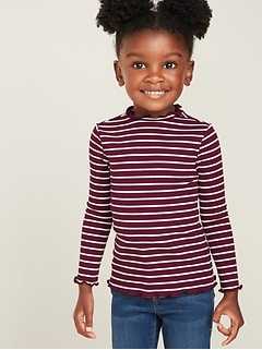Fitted Ruffle-Trim Rib-Knit Top for Toddler Girls