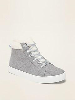 Chaussures hautes en mélange de laine avec doublure en sherpa pour fille