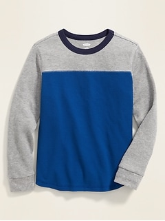 Color-Blocked Thermal-Knit Tee for Boys