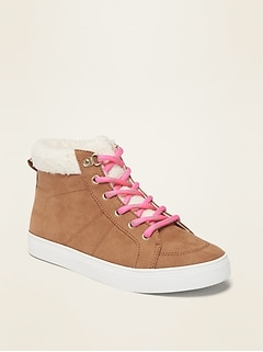 Sueded Sherpa-Lined High-Tops for Girls