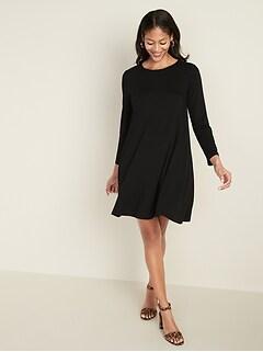 Long-Sleeve Jersey-Knit Swing Dress for Women