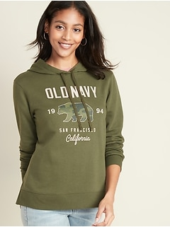French Terry Logo-Graphic Pullover Hoodie for Women