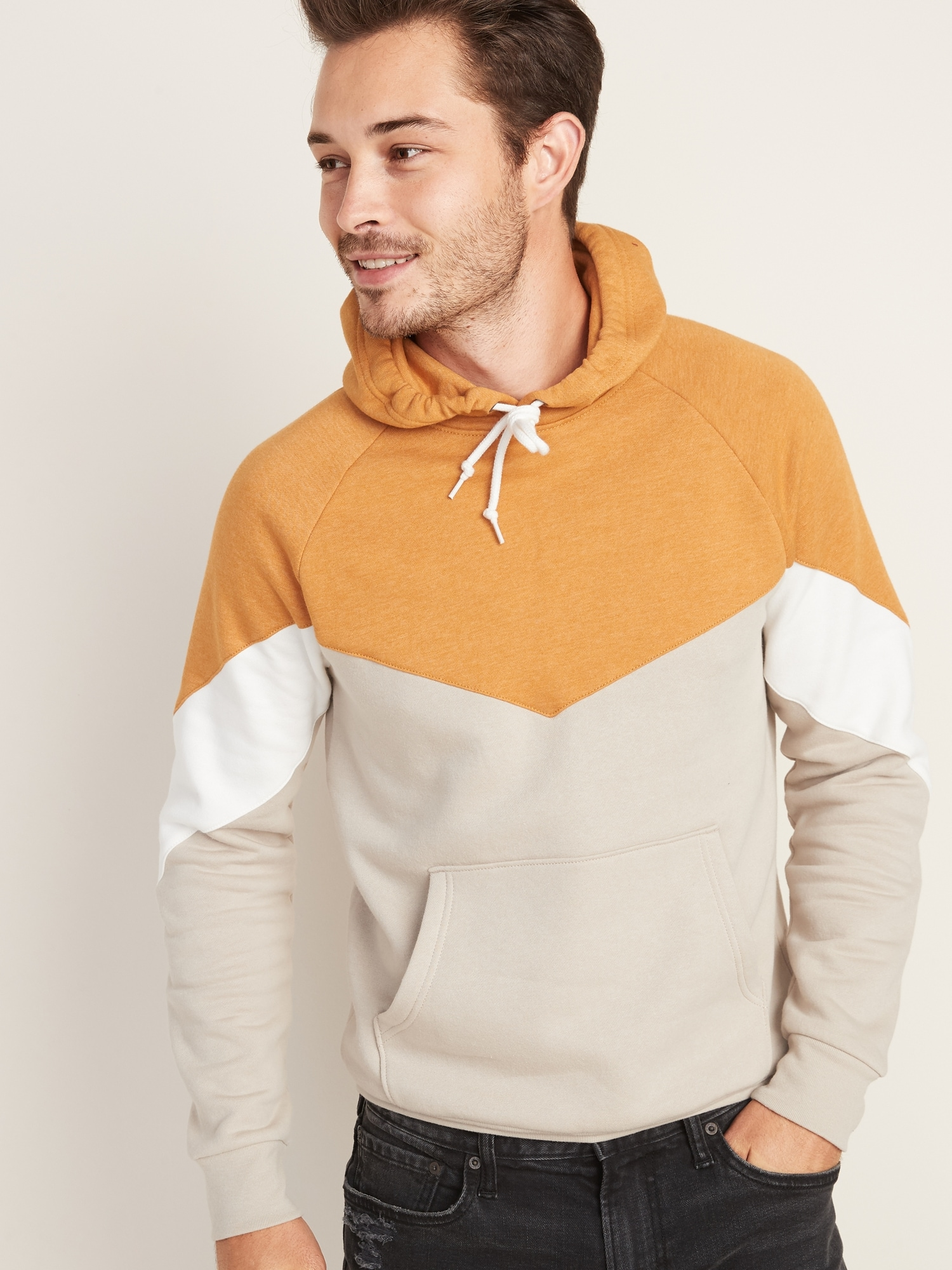 Color Blocked Pullover Hoodie For Men by Old Navy