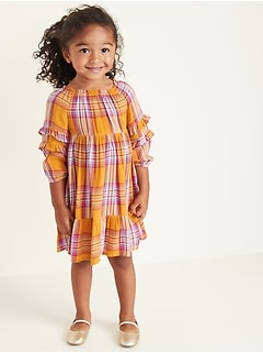 Plaid Ruffle-Tiered Crepe Dress for Toddler Girls