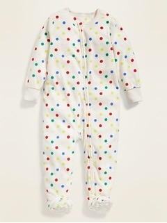 Polka-Dot Micro Performance Fleece Footie Pajama One-Piece for Toddler Girls & Baby