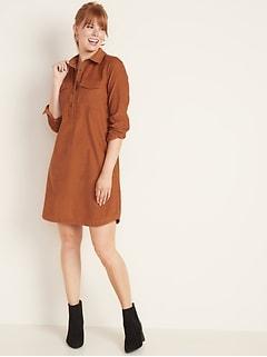 Corduroy Shirt Dress for Women