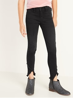 Ballerina Built-In Tough Raw-Edge Black-Wash Jeggings for Girls