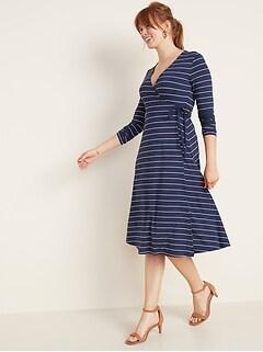 Patterned Jersey Wrap-Front Midi Dress for Women